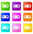 retro radio icons set 9 color collection vector image vector image