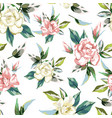rose flowers seamless pattern white background vector image vector image