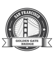 San Francisco symbol - Golden Gate Bridge stamp vector image