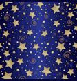 seamless dark blue pattern with golden stars vector image