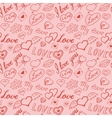 Seamless pattern of hearts and handwriting vector image vector image