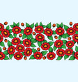 seamless red full floral brush vector image vector image