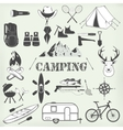 Set of camping equipment symbols and icons vector image vector image