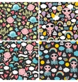 Set of cute seamless patterns with happy babies vector image vector image