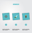 set of pirate icons flat style symbols with sword vector image