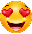 smiley emoticon feeling in love vector image