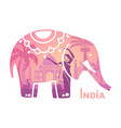 stylized silhouette indian elephant vector image vector image