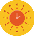 Summer time concept Combined clock and sun Flat vector image vector image