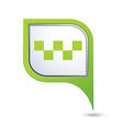 taxi with sign icon on green pointer vector image vector image
