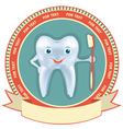 Tooth label set healthy symbol background for text vector image