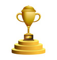 trophy cup on podium symbol vector image vector image