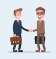 two smiling businessmen shaking hands together vector image
