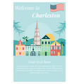 welcome to charleston poster with landmarks vector image vector image
