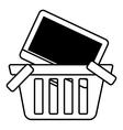 basket buy online computer screen wireless outline vector image