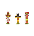 american indian totem poles set colorful wooden vector image vector image