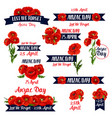 anzac day lest we forget red poppy icons vector image vector image