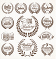 bakery laurel wreath retro labels vector image vector image