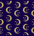 beautiful seamless pattern with moon and stars vector image vector image