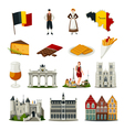 belgium flat style icons set vector image vector image