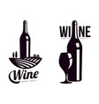 bottle of wine background of vineyard field icon vector image vector image