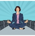 Business Woman Meditating on the Table vector image vector image