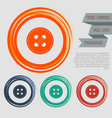 button for clothes icon on the red blue green vector image