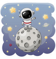 cartoon astronaut on moon on a space vector image