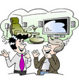 cartoon of by a family man and a salesman vector image vector image