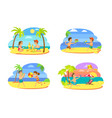 childrens activities on beach summertime vector image vector image