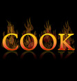 cook grill text icon vector image vector image