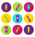 cosmetic tubes flat icon set vector image