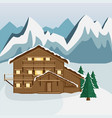cozy wooden chalet in the mountain vector image vector image