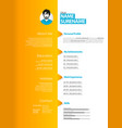 creative curriculum vitae template with orange vector image vector image