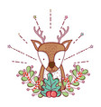 cute christmas reindeer with wreath vector image vector image