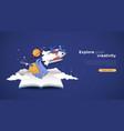 explore creativity papercut landing page template vector image