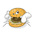 fast food bad eating concept spider hamburger vector image
