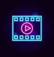 film strip play neon sign vector image vector image