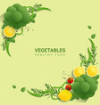 flat lay fresh vegetables on green background vector image