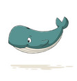 funny cartoon whale vector image