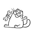 funny cat and wrench vector image