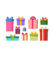 gift boxes set presents isolated on white vector image