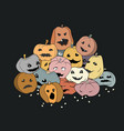 halloween pile pumpkins vector image