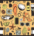 hand drawn summer seamless pattern with shoes vector image vector image