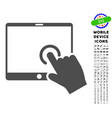 hand touch pda icon with set vector image vector image