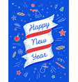 Happy new year ribbon banner in bright colorful