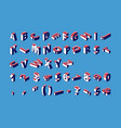 isometric alphabet numbers and punctuation marks vector image vector image