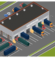 Isometric Warehouse Storehouse Building Cargo vector image vector image