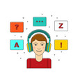 learn language concept with boy in headphone vector image