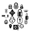 lock door types icons set simple style vector image vector image