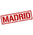 madrid red square stamp vector image vector image